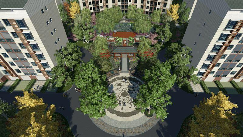 圆形广场效果图